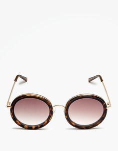 Okrągłe okulary w rogowej oprawce - Terakota i biel   Stradivarius Polska