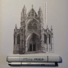 Airship Notebooks discusses a pen-and-ink architecture illustration by Lorenzo Concas of Notre Dame du Sablon in Brussels, Belgium. Gothic Architecture Drawing, Architecture Sketchbook, Church Architecture, Cityscape Drawing, Sketch Painting, Copic Drawings, Art Drawings, London City, Angkor