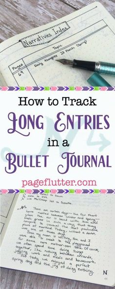 How to Track Long Entries in a Bullet Journal | pageflutter.com | Great hack for keeping long paragraph entries organized in a bullet journal.