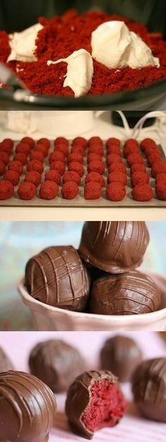 Red Velvet Cake Balls - add vanilla white chocolate coat instead!!.
