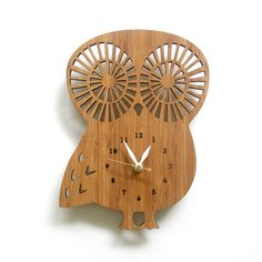 Modern Animal Clock  Owl with Numbers by decoylab on Etsy, $78.00
