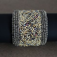 Bead Embroidered Cuff Bracelet in Gold and Bronze by AlixHDesigns, $75.00