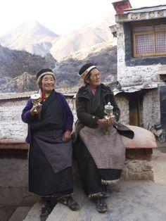 Two Buddhist Pilgrim Women at the Tidrum Nunnery in Tibet, China