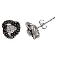 Women's Oxidized Loveknot Stud Earrings with Clear Cubic Zirconia in Sterling Silver - Clear/Gray (11mm)