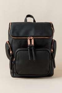 Melinda Rose Gold Zip with Charging Cord Backpack