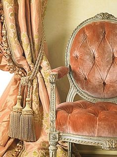 Eye For Design: Decorating With Velvet.......Mixing Modern And Classic Velvet curtains in the color of the chair fabric?