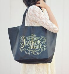 Merchandise tote - Caution Awesome Inside - Reusable Non-Woven Tote Merchandise Bags, Girl Guides, Reusable Bags, Lettering Design, Custom Items, Fabric Material, Beautiful Words, Personalized Items, Trending Outfits