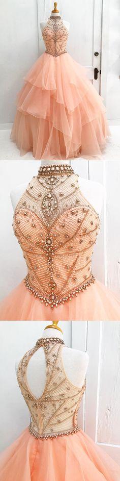 Gorgeous Floor-length A-line High Neck Beading Open back evening dress, long Prom Dresses, PD0506