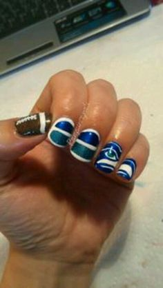 Seattle SeaHawk nails:)  I have to show this to mom