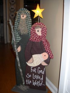 Wooden Nativity  Mary Joseph & Baby Jesus by marciaoliver on Etsy, $69.95