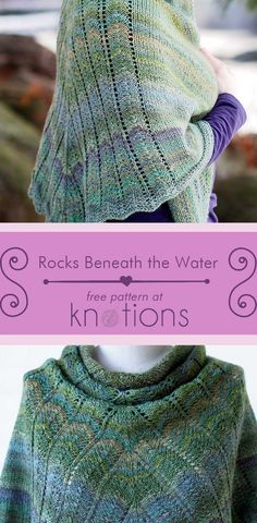 Free knitting pattern for a triangular shawl with a simple chevron design in the back. Works well with solid, semi-solid or hand dyed yarn! Free Knit Shawl Patterns, Free Knitting Patterns For Women, Loom Knitting Patterns, Knitting Projects, Scarf Patterns, Knitting Ideas, Crochet Shirt, Knit Or Crochet, Crochet Vests