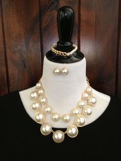 Preppy Pearls Necklace and Earrings - Simple Southern Style