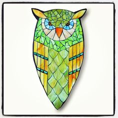 Angry Bird aka Peaches - Stained Glass Mosaic Owl by Kasia Polkowska - visit www.kasiamosaics.com for class schedule, limited release templates and original fine art.