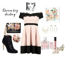 """""""B&B"""" by hillaryranjbar ❤ liked on Polyvore featuring Badgley Mischka, Lizzie Fortunato, Jimmy Choo, Nails Inc., Bare Escentuals, Vera Bradley, Bebe and Crate and Barrel"""