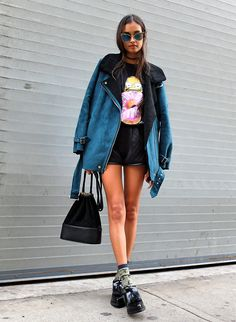 Gizele Oliveira - Forever 21 Top, Forever 21 Jacket, Forever 21 Shorts, Urban Outfitters Bag, Zara Shoes - Can't talk eating