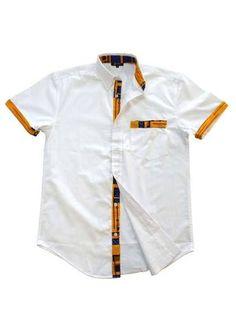 Tops - Dami Button-Up African Print Trim Shirt (Yellow/Blue) Modern African Clothing, African Clothing For Men, African Men Fashion, African Print Shirt, African Shirts, African Wear, African Outfits, Contexto Social, Mode Wax