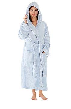 Del Rossa Women s Fleece Full Length Hooded Bathrobe Robe 18dfc9965