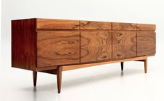 Rosewood credenza (model 66 ) designed by Ib Kofod Larsen and manufactured by Faarup of Denmark in the Photo: remodern. Danish Modern Furniture, Mcm Furniture, Design Furniture, Mid Century Modern Furniture, Plywood Furniture, Chair Design, Furniture Inspiration, Wood Design, Design Design
