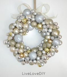 LiveLoveDIY: Christmas Ornament Wreath