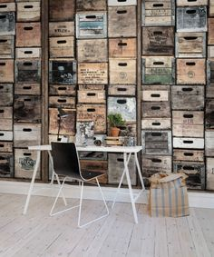 Industriel Urban Farm L., Vintage Hey, look at this wallpaper from Rebel Walls, Industriel Urban Farm L. Decoration Restaurant, Restaurant Design, Photowall Ideas, Scandinavian Wallpaper, Old Wooden Crates, Kitchen Wallpaper, Rustic Wallpaper, The Design Files, Urban Farming