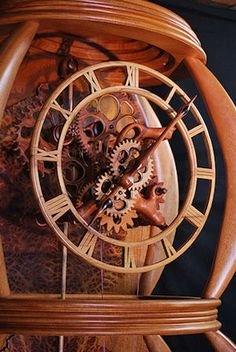 Gary Johnson's Portfolio of Handmade Wood Clocks Wooden Gear Clock, Wooden Gears, Marble Machine, Handmade Clocks, Walnut Burl, Classic Clocks, Clock Display, Cool Clocks, Metal Projects