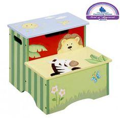 Sunny Safari Storage Step Stool Kids Step Stools   LuxuryLamb.Com