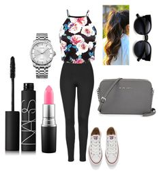 """Floral shirt"" by alexxfotopoulos on Polyvore featuring Topshop, Converse, Calvin Klein, NARS Cosmetics, MAC Cosmetics, women's clothing, women's fashion, women, female and woman"