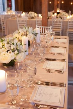 elegant, all white tablescapes Photography by Gayle Brooker Photography / gaylebrooker.com, Event Planning   Design by Kristin Newman Designs / kristinnewmandesigns.com/, Floral   Lighting Design by Gathering Floral   Event Design / gatheringevents.com