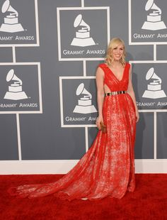 Natasha Bedingfield wore a red Emerson Spring dress to the 2013 Grammy Awards