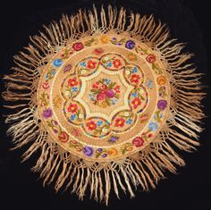 Traditional Vintage Hungarian Silk Matyo Floral Embroidered Round Tablecloth from the Chain Stitch Embroidery, Learn Embroidery, Embroidery Stitches, Embroidery Patterns, Hand Embroidery, Stitch Head, Contemporary Decorative Art, Hungarian Embroidery, Flower Embroidery Designs