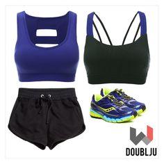 """""""Doublju Women Active Workout Criss Cross Back Sports Bra Top"""" by doublju-company ❤ liked on Polyvore"""