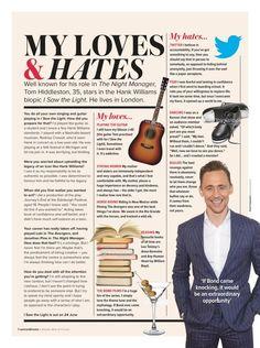 Loves & Hates Tom Hiddleston Woman & Home magazine Thomas William Hiddleston, Tom Hiddleston Loki, Bad Boy Aesthetic, I Saw The Light, Writing About Yourself, Lost In Translation, Loki Thor, Loki Laufeyson, Perfect Man