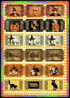 Altered Art Vintage Halloween Ticket Sets 2 - Download