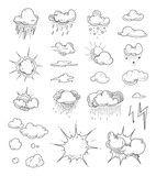 Vektor: vector Doodle big set of Hand Drawn Clouds