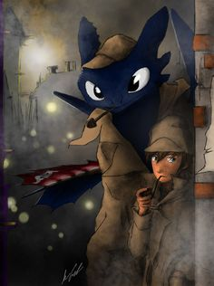 Toothless and hiccup Sherlock Holmes :)