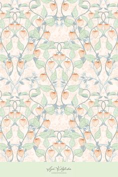 Fabric design featuring Chinese Lanterns plant (Physalis) inspired by William Morris' classical wallpaper designs.