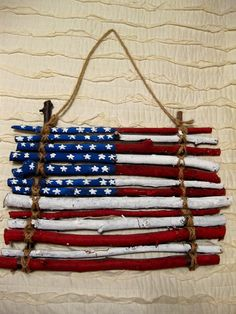 Wooden American Flag WallHanger by CreationsKaitlin on Etsy