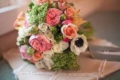 Green, pink and white bouquet.