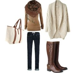 Tan shirt, infinity scarf, skinny jeans, Brown knee high boots, cream sweater, cream and brown bag.