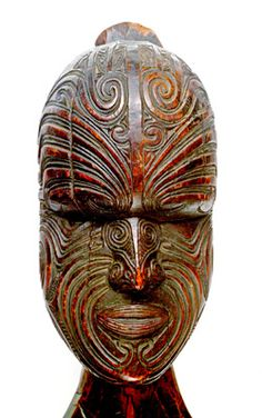 Carved portrait of Hongi Hika, possibly c1814. Transferred from the Nicholson Museum 1896