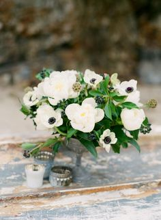 Anemones, peonies or use garden roses, greens and sneak in something navy with darker berry? Anemone Bouquet, Flower Centerpieces, Wedding Centerpieces, Flower Arrangements, Anemone Wedding, Floral Wedding, Fall Wedding, Wedding Bouquets, Flowers