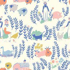 Farm animals fabric - chicken pig cow barn Homestead Birch Fabrics - Baby Fabric Store