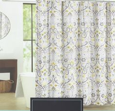 Amazon Cynthia Rowley Baaman Grey And Yellow Floral Scroll Fabric Shower Curtain