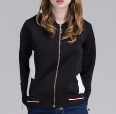 Fashion womens color block bomber jacket for autumn black and white jacket coat with zipper