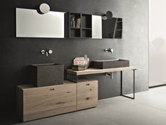 Legno e pietra per la nuova collezione bagno Novello