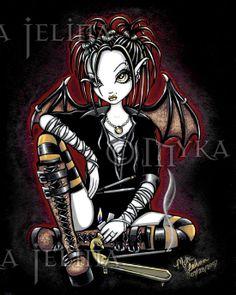 Patchouli Gothic Incense Fairy 8x10 Signed PRINT by MykaJelina, $9.99