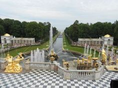 Peterhof Gardens, Russia, with a view to the Baltic Sea.  The Russian palace in St. Petersburg is inspired by Versailles in France. Peter the Great built Peterhof as his summer retreat. --Tom Williamson of Palmyra, VA