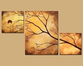 Birds Bees in Tree Branch Large Wall Art 42 x 24 Blue Painting Triptych Custom Large Painting. $295.00, via Etsy.