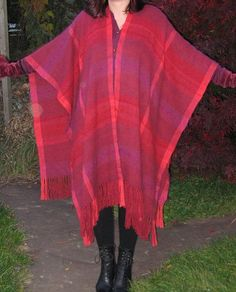 Red ruana, silk and angora by Waschbear - Frances Green, via Flickr