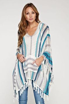 I am loving this piece so much. I think those cool nights need a little something to throw on over a tank, or if you are headed to the beach. Beautiful crochet with fringe embodies the trends right now. How cute with jeans or shorts? One size fits most. Crochet Poncho Patterns, Crochet Cardigan, Crochet Scarves, Crochet Shawl, Crochet Clothes, Knit Crochet, Love Crochet, Beautiful Crochet, Crochet Humor